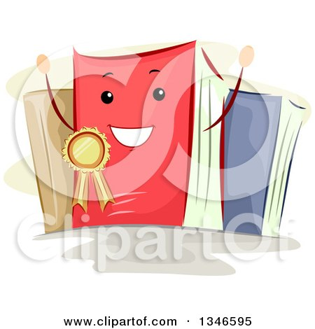 Clipart of a Cartoon Happy Book Wearing a Best Seller Ribbon - Royalty Free Vector Illustration by BNP Design Studio