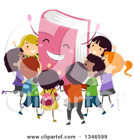 Clipart of a Cheering Pink Book Mascot Surrounded by Happy Children - Royalty Free Vector Illustration by BNP Design Studio
