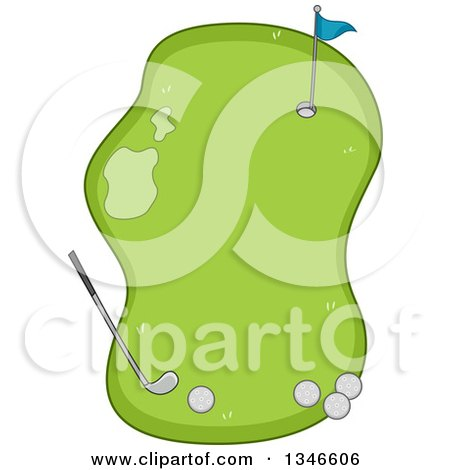 Clipart Of A Golf Course Frame With Balls A Club And Hole Royalty Free Vector Illustration