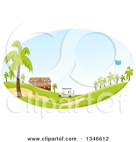 Clipart of a Golf Cart near a Building, with Palm Trees in the Landscape - Royalty Free Vector Illustration by BNP Design Studio