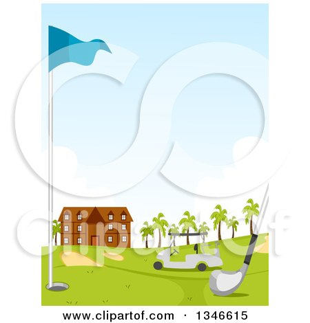 Clipart of a Club, Hole, Flag and Cart on a Golf Course, with the Building in the Background - Royalty Free Vector Illustration by BNP Design Studio
