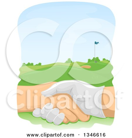 Clipart of Golfers Shaking Hands over a Course - Royalty Free Vector Illustration by BNP Design Studio