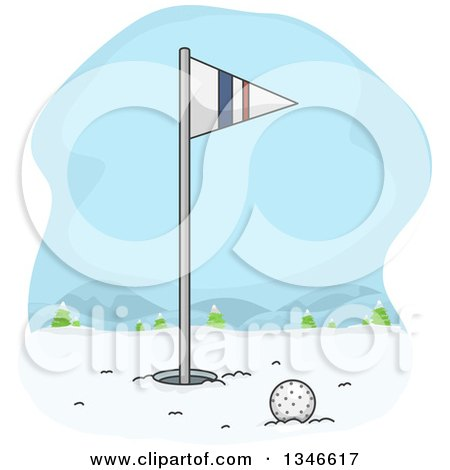 Clipart of a Golf Ball near the Hole and Flag in Winter Snow - Royalty Free Vector Illustration by BNP Design Studio