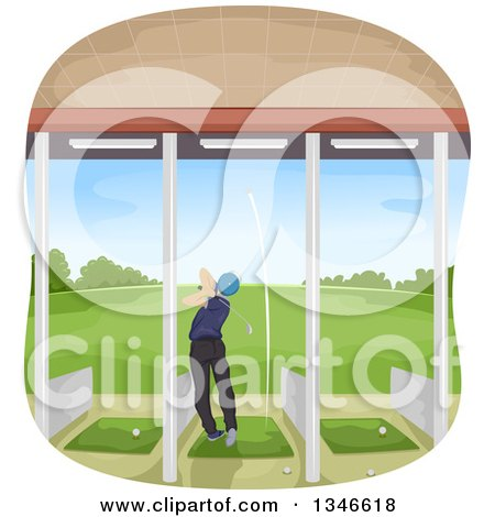 Clipart of a Rear View of a Male Golfer Swinging in a Driving Range - Royalty Free Vector Illustration by BNP Design Studio