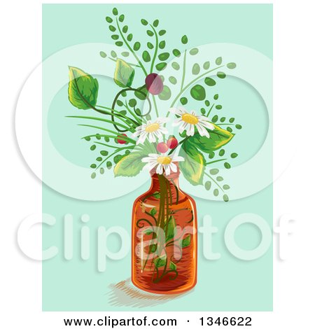 Clipart of a Medicine Bottle with Flowers - Royalty Free Vector Illustration by BNP Design Studio