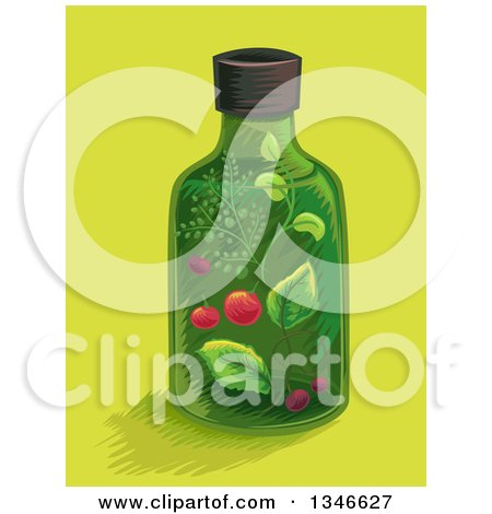 Clipart of a Medicine Bottle with a Herbal Tincture over Yellow - Royalty Free Vector Illustration by BNP Design Studio