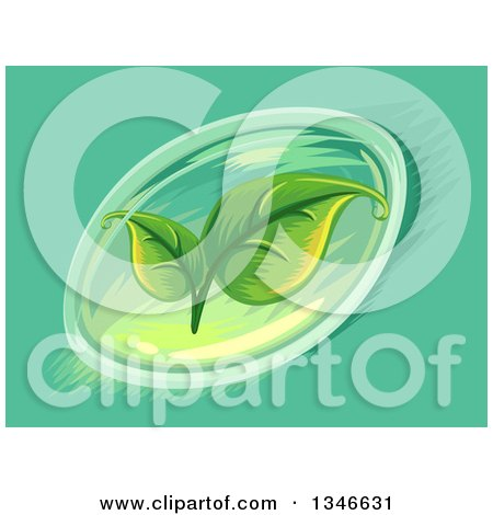 Clipart of a Soft Gel Capsule with Leaves - Royalty Free Vector Illustration by BNP Design Studio