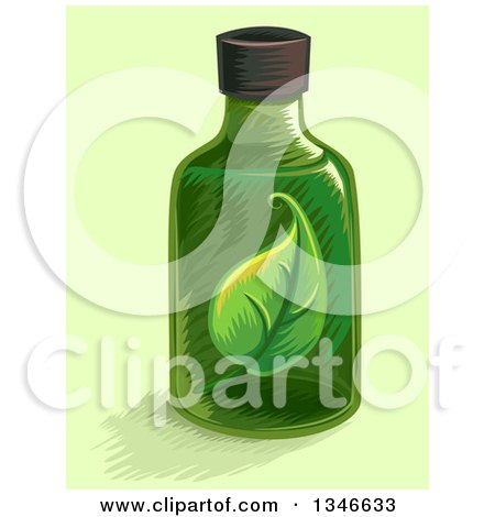 Clipart of a Green Herbal Tincture Bottle with a Leaf - Royalty Free Vector Illustration by BNP Design Studio