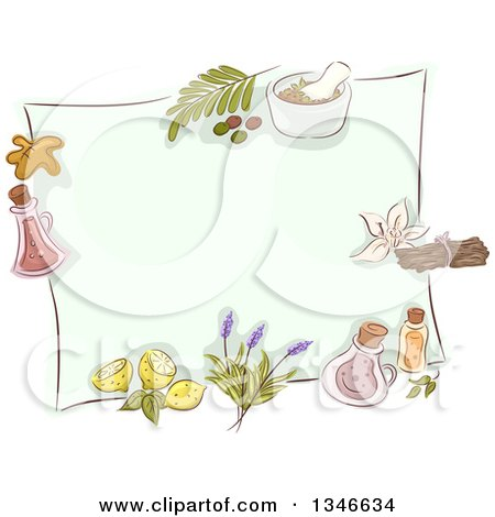 Clipart of a Blank Piece of Paper Bordered in Sketched Herbal Plants - Royalty Free Vector Illustration by BNP Design Studio