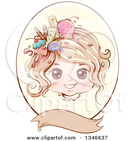 Clipart of a Retro Styled Dirty Blond Caucasian Girl with Ice Cream and Sweets in Her Hair, Inside an Oval Frame with a Blank Banner - Royalty Free Vector Illustration by BNP Design Studio