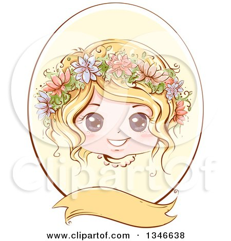 Retro Styled Blond Caucasian Girl with Flowers in Her Hair, Inside an Oval Frame with a Blank Banner Posters, Art Prints