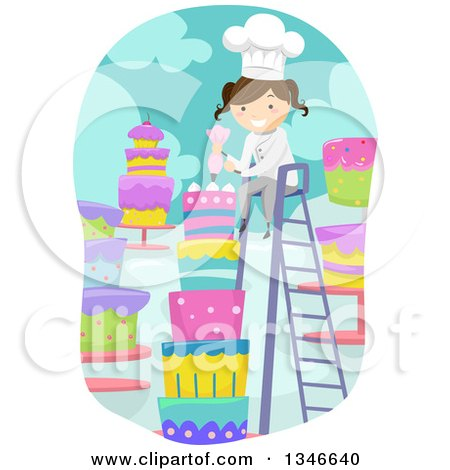 Clipart of a Cartoon Brunette Caucasian Female Baker on a Ladder, Decorating a Tall Cake - Royalty Free Vector Illustration by BNP Design Studio
