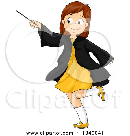 Clipart of a Cartoon Happy Brunette Caucasian Girl Playing with a Magic Wand - Royalty Free Vector Illustration by BNP Design Studio