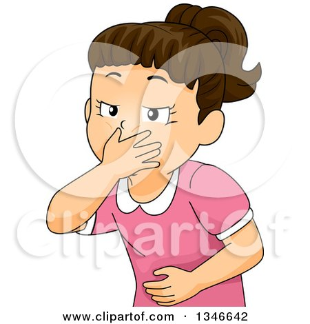 Clipart of a Cartoon Brunette Caucasian Girl Covering Her Mouth and About to Throw up - Royalty Free Vector Illustration by BNP Design Studio