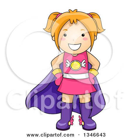Clipart of a Cartoon Red Haired Caucasian Super Hero Girl - Royalty Free Vector Illustration by BNP Design Studio