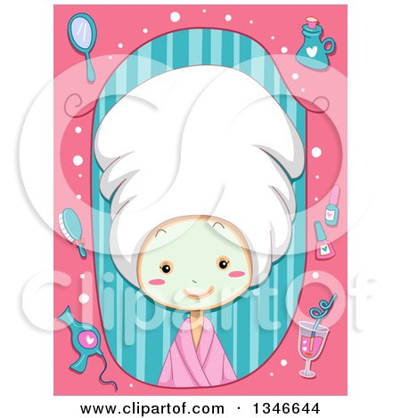 Clipart of a Cartoon Caucasian Girl Wearing a Towel on Her Hair and a Face Mask, in a Pink and Stripe Beauty Frame - Royalty Free Vector Illustration by BNP Design Studio