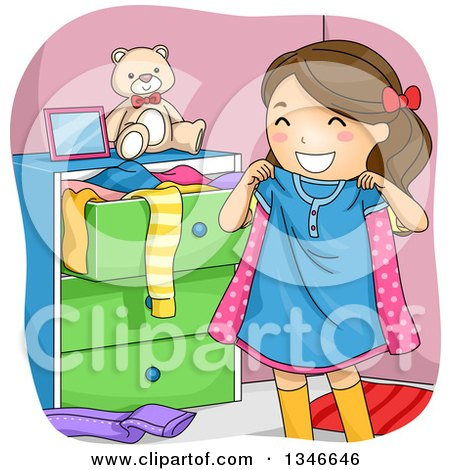 Clipart of a Cartoon Happy Brunette Caucasian Girl Holding up a Shirt - Royalty Free Vector Illustration by BNP Design Studio