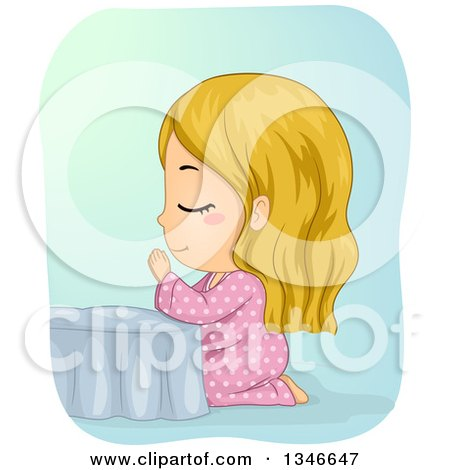 Clipart of a Cartoon Blond Caucasian Girl Kneeling and Praying at Her Bed Side - Royalty Free Vector Illustration by BNP Design Studio