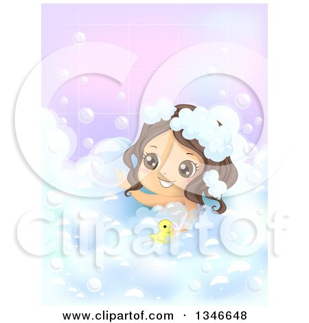 Clipart of a Happy Brunette Caucasian Girl Playing with a Rubber Duck in a Bubble Bath - Royalty Free Vector Illustration by BNP Design Studio