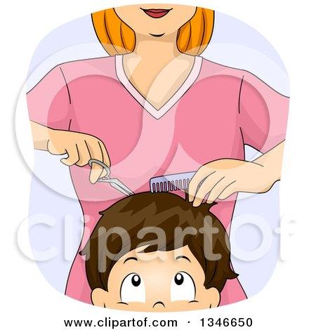 Clipart of a Cartoon Caucasian Woman Cutting a Boy's Hair - Royalty Free Vector Illustration by BNP Design Studio