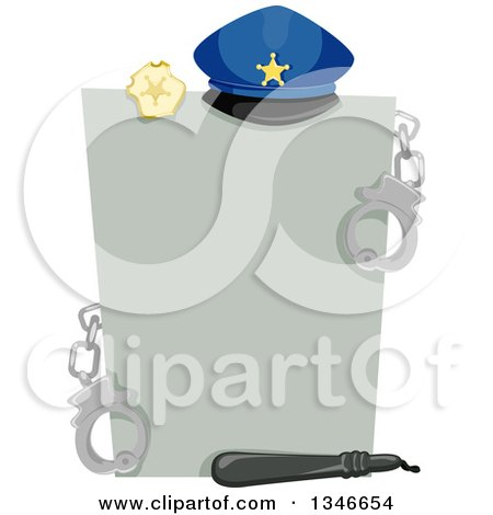 Clipart of a Gray Piece of Paper with Police Accessories - Royalty Free Vector Illustration by BNP Design Studio