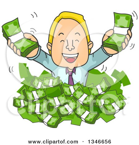 Clipart of a Cartoon Blond Caucasian Business Man Popping out of a Pile of Cash Money - Royalty Free Vector Illustration by BNP Design Studio