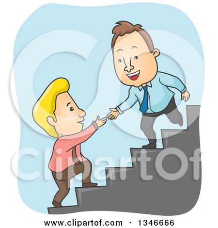 Clipart of a Cartoon Caucasian Business Man Offering a Hand to Help a Colleague up Stairs - Royalty Free Vector Illustration by BNP Design Studio