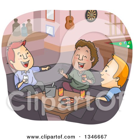 Clipart of Cartoon White and Black Men Laughing and Having a Good Time in a Man Cave - Royalty Free Vector Illustration by BNP Design Studio