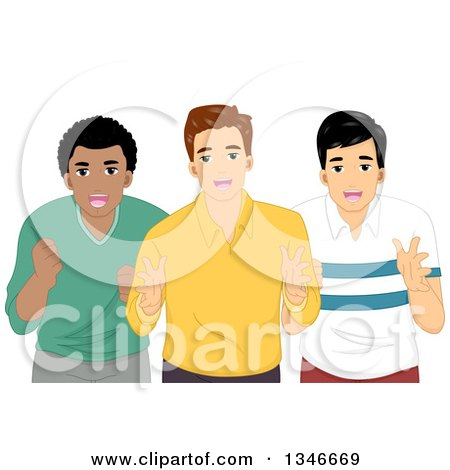 Clipart of a Group of Three Cheering Men - Royalty Free Vector Illustration by BNP Design Studio