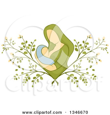 Clipart of a Sketched Mother Breastfeeding Her Baby in a Moringa Plant - Royalty Free Vector Illustration by BNP Design Studio