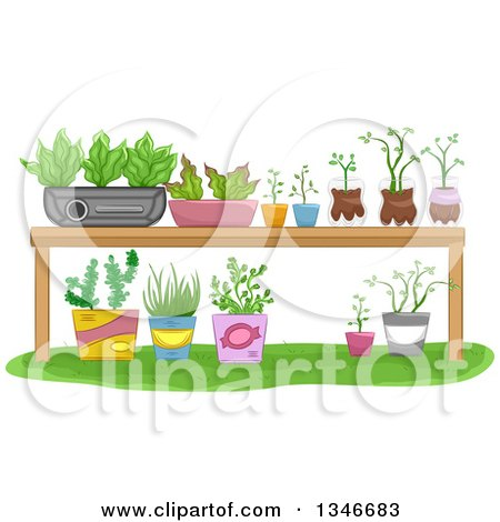 Clipart of a Garden Table with Potted Plants - Royalty Free Vector Illustration by BNP Design Studio