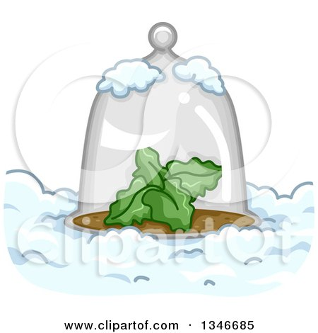 Clipart of a Glass Cloche Dome over a Plant in the Snow - Royalty Free Vector Illustration by BNP Design Studio