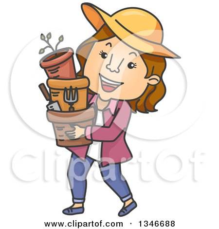 Clipart of a Cartoon Brunette Caucasian Woman Carrying Garden Pots and Tools - Royalty Free Vector Illustration by BNP Design Studio