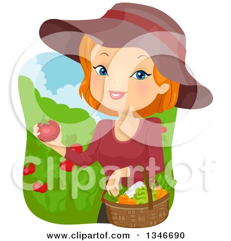 Clipart of a Cartoon Red Haired Caucasian Woman Harvesting Tomatoes and Veggies from Her Garden - Royalty Free Vector Illustration by BNP Design Studio