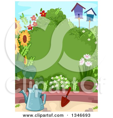 Clipart of a Lush Garden with a Watering Can, Trowel, Flowers, Bird Houses and a Shrub with Text Space - Royalty Free Vector Illustration by BNP Design Studio