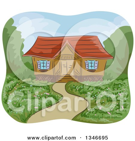 Clipart of a Garden Yard of a Cabin - Royalty Free Vector Illustration by BNP Design Studio
