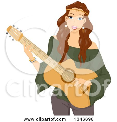 Clipart of a Brunette Caucasian Hippie Woman Singing and Playing a Guitar - Royalty Free Vector Illustration by BNP Design Studio