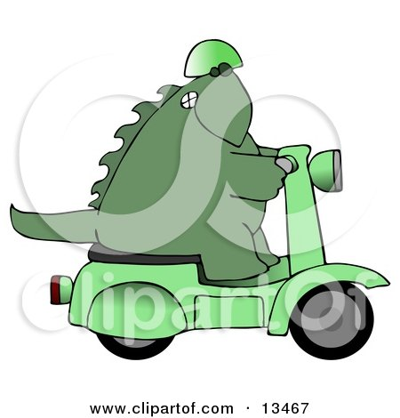 Green Biker Dino Wearing a Helmet and Riding a Green Scooter Posters, Art Prints