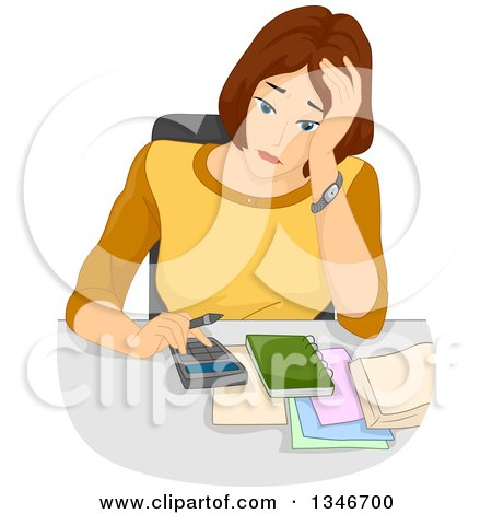 Clipart of a Stressed Brunette Caucasian Woman Going over Her Budget - Royalty Free Vector Illustration by BNP Design Studio