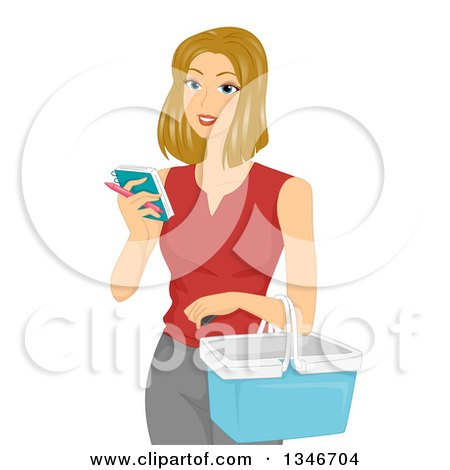 Clipart of a Dirty Blond Caucasian Woman Holding a Basket and Reading a Shopping List - Royalty Free Vector Illustration by BNP Design Studio