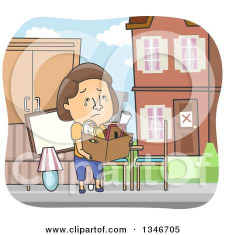 Cartoon Brunette Caucasian Woman Crying and Being Evicted from Her Home Posters, Art Prints