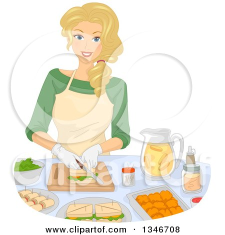 Clipart of a Happy Blond Caucasian Woman Making Sandwiches and Snacks - Royalty Free Vector Illustration by BNP Design Studio