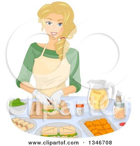 Cartoon Of A Cute Brunette Caucasian Baker Girl Holding