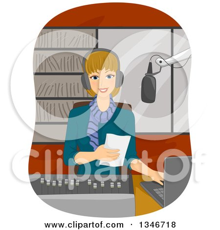 Clipart of a Happy Dirty Blond Caucasian Woman Disk Jockey Using a Laptop and Reading from a Piece of Paper - Royalty Free Vector Illustration by BNP Design Studio