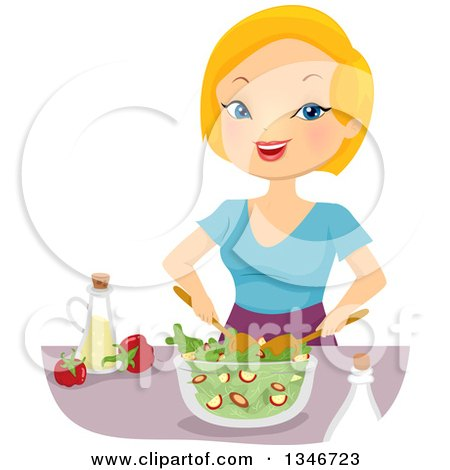 Clipart Salad Icon With Utensils And Toppings - Royalty ...