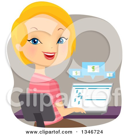 Clipart of a Cartoon Caucasian Woman Banking on Her Laptop Computer - Royalty Free Vector Illustration by BNP Design Studio