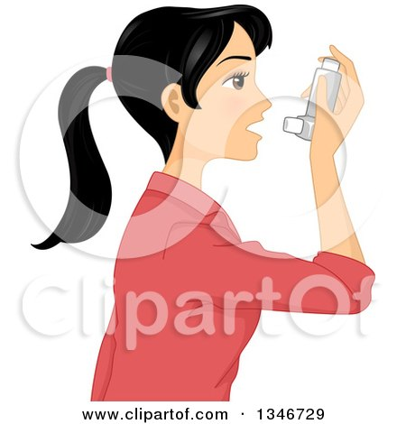 Clipart of a Black Haired Woman Using an Asthma Inhaler - Royalty Free Vector Illustration by BNP Design Studio