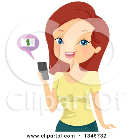 Clipart of a Cartoon Red Haired White Woman Online Banking on Her Cell Phone - Royalty Free Vector Illustration by BNP Design Studio