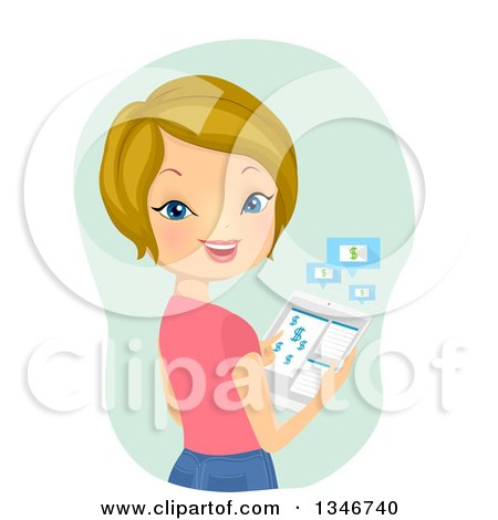 Clipart of a Cartoon Dirty Blond Caucasian Woman Banking on Her Tablet Computer - Royalty Free Vector Illustration by BNP Design Studio