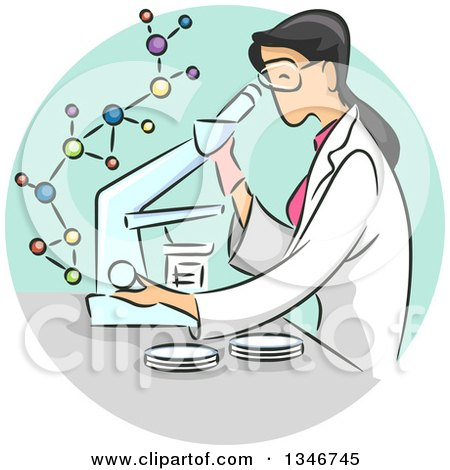 Clipart of a Sketched Female Scientist Viewing Samples Through a Microscope - Royalty Free Vector Illustration by BNP Design Studio